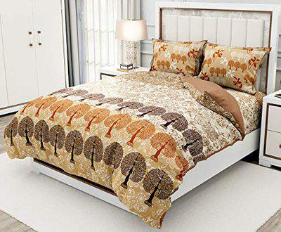 Ashnit Ventures Jaipur Rajasthan Co-Ordinated Twill Cotton Double Bedsheet (Brown)