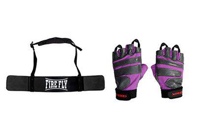 FIRE FLY Unisex Arm Blaster Combo Heavy Duty Biceps Triceps Isolater Bomber with Gym Fitness Gloves (Black Purple)
