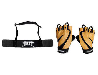 FIRE FLY Unisex Arm Blaster Combo Heavy Duty Biceps Triceps Isolater Bomber with Gym Fitness Gloves (Black Beige)