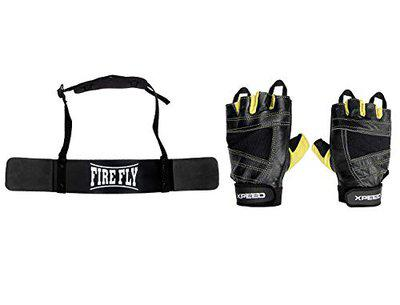 FIRE FLY Unisex Arm Blaster Combo Heavy Duty Biceps Triceps Isolater Bomber with Gym Fitness Gloves (Black Yellow)