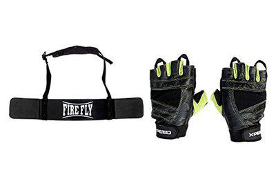 FIRE FLY Unisex Arm Blaster Combo Heavy Duty Biceps Triceps Isolater Bomber with Gym Fitness Gloves (Black Green)