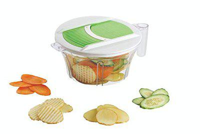 HaRvic 7 in 1 Vegetable & Fruit Chopper   Multi Function  Salad Cutter  Vegetable Chipser   Kitchen Food Set with Airtight Unbreakable Container - Multicolour