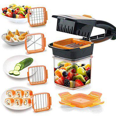 Jiya Enterprise Plastic Vegetable Dicer Chopper 5 in 1 Multi-Function Slicer with Container Onion Cutter Kitchen Accessories