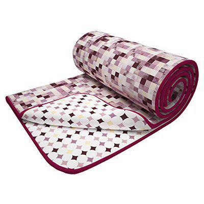 Story@Home Superfine Cotton Checks and Cirlce Pattern Lightweight Reversible Double Blanket/Duvet/Comforter/AC Dohar (88x94 Inches, Pink and Brown)