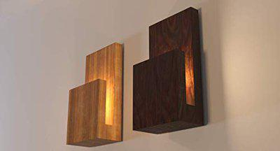 Discount4product D4P Wooden LED Wall Lamp, Warm White Wall Hanging Lamp for Living Room, Bedroom & Home Decoration