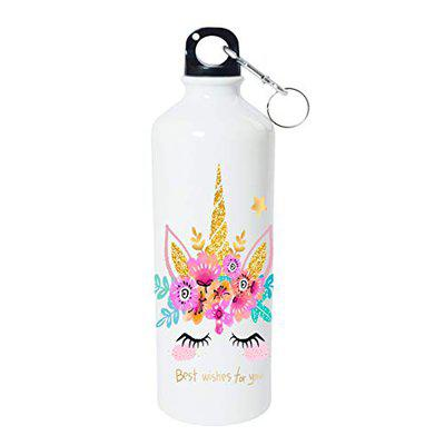 Shopbuzz Unicorn Print Aluminum Water Bottle for Office, Gym, School, Travel, Sipper for Kids and Adults (750ML)