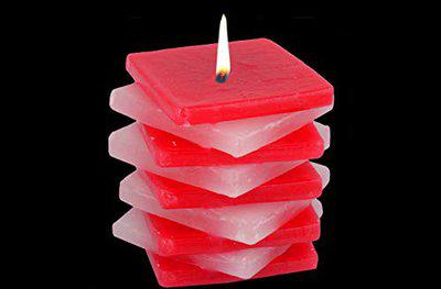 atorakushon Smokeless Scented Paraffin Wax Big Star Designer Red Cube Pillar Square Candle for Party,Birthday Party,Dinner Table, Living Room (Pack of 1)