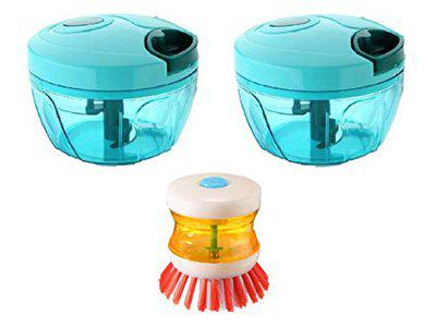 Shivonic Piece of 2 Manual Food Chopper Compact&Powerful Hand Held Vegetable Chopper/Vegetables/Nuts/Herbs/Onions/Garlic for Salsa/Salad/Pesto/400 ml with Combo Pack of 1 Dish Brush/Sink Brush