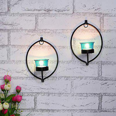 Webelkart Set of 2 Decorative Golden Eye Wall Sconce/Candle Holder with Red Glass and Free T-Light Candles (Design 5)