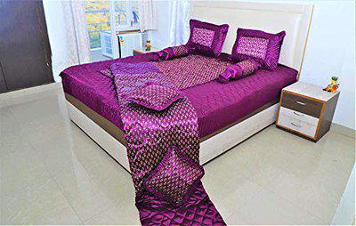 Maharaja Handicraft and Fashion Satin Bedding Set of 8pcs [1 Bedsheet with 2 Pillow Covers, 2 Filled Cushion, 2 Bolsters and 1 AC Comforter] Rama Green (Purple)