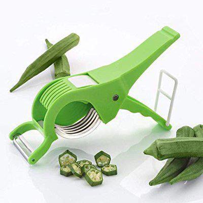 Rudra 2 Piece Veg Cutter Sharp Stainless Steel 5 Blade Vegetable Cutter with Peeler