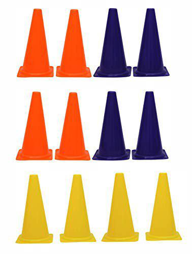 L'AVENIR 12Pcs. Field Cone Markers (6 inches High) for Football/Training/Speed/Stamina - Multi-Color