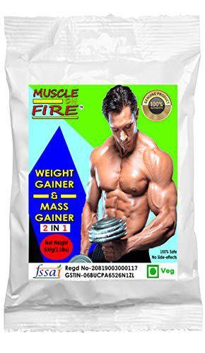Muscle on fire weight & mass gainer//muscle gainer/size gainer protein supplement powder with digestive enzymes - 500 Gm (Pineapple)