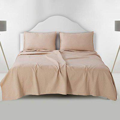 Victor Matalesse Bedcover 100% Combed Cotton Double Bed Spread /Luxury Bed Sheet with 2 Pillow Covers, Durable with Extra Strong Binding Easy Wash/ Extra Soft Comfortable/Fade Resistant (106 x 108)