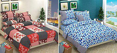 ASAR CREATIONS Cotton 180 TC King Size 2 Double Bedsheet with 4 Pillow Covers (Pack of 6, Multicolor)
