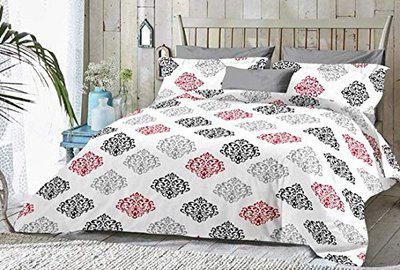 Urbano Homz 100 Cotton,144 TC Double Bed Sheet with Two Pillow Covers,Damask Print, 254 cm X 228 cm (White)