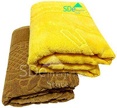 SD ENTERPRISES Set of 2 Big Floral Design 30x60 inch XXL Soft, Quick Dry and Long Full Size 100% Pure Cotton Man and Women Bath Towel - Color Brawn and Yellow