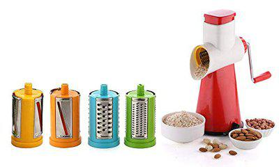 HaRvic 4 in 1 Vegetable Grater Slicer, Rotary Drum Fruit Cutter Cheese Shredder Thick and Thin Slicer and First time in India with 4 Attached Colorful Drum with Stainless Steel Rotary Blades