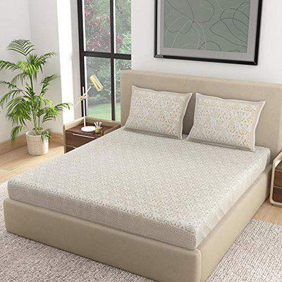 Dreams Premium Cotton Fabric Bed Sheet Excelsior Design Includes 1 Bed Cover 90X108 and 2 Pillow Covers 18X27, Ivory