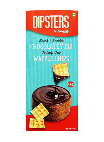 Snackible Dipsters Chocolate Dip with Waffle Chips (Pack of 12) - 12x50gm