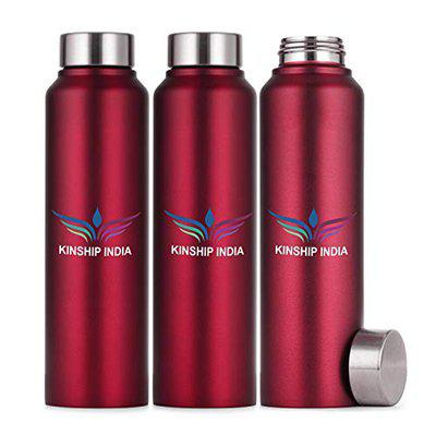 KINSHIP INDIA Stainless Steel Water Bottle Set of Three,1 Litre Each,Red Color