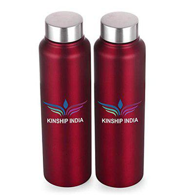 KINSHIP INDIA Stainless Steel Water Bottle Set of Two,1 Litre Each,Red Color