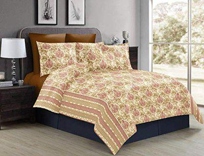Divine Overseas 100% Pure Cotton Designer Printed Double Bed Sheet Set (Fragrance) 1 Bed Sheet +2 Pillow Cover (Double, Yellow Heritage)