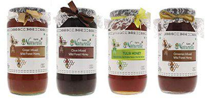 Farm Naturelle-Virgin 100 Pure Raw Natural Tulsi , Cinnamon, Ginger and Clove Infused Forest Honey-(1.45 KG x 4 ) Glass Bottle