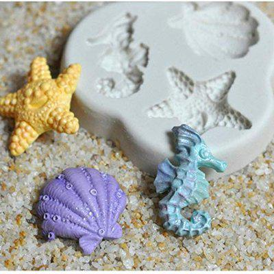 7horse Starfish Mould Cake Mould,Silicone Fondant Mould,Seahorse Shell Mould Chocolate Beach Starfish Conch Cookies Mold Soap Baking Tool