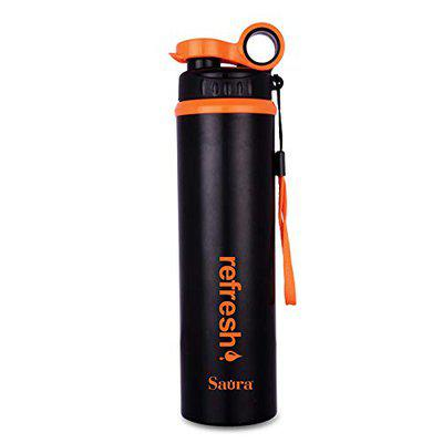 SAURA Water Bottle Kids Reusable Leakproof 1000ML Plastic Wide Mouth Large Big Drink Bottle BPA & Leak Free for Cycling Camping Hiking Gym Yoga (Color May Vary) (Orange)