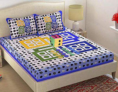 Lifestyle Launch Jaipuri Traditional Sanganeri Ludo Print 144 TC Cotton Double Bedsheet with 2 Pillow Covers,1 DICE &16 Tokens (Blue)