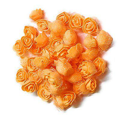 MADHAV -Pack of 50 Pieces- -3 cm Each- Artificial Mini Foam Rose Flowers for Decoration/Art and Craft Work/Hairstyle and Tiara Making/Gift Packing/Card Making (LightOrange)