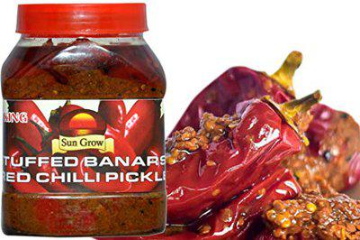 Sun Grow Home-Made Organic Stuffed Banarasi Red Chilli Pickle 1kg ( Reset Your Eating Habits with a Healthy Solution) 1kg