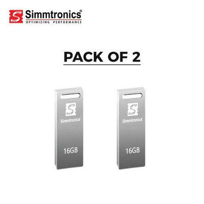 Simmtronics 16 GB USB Flash Drive with Metal Body Pack of 2