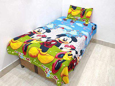 Panipat Texo Fab Printed Designer Cotton Single Bedsheet with 1 Pillow Cover-Yellow and White