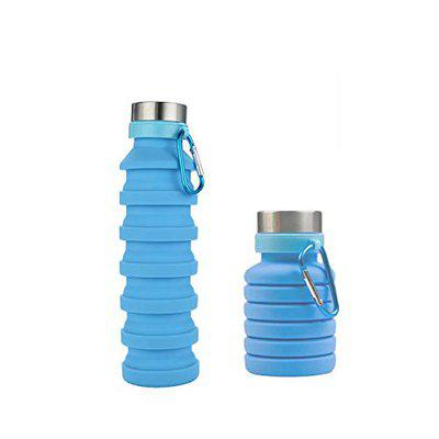 Home Story Squeez-I, Food Grade BPA Free Silicon Collapsible Water Bottle, Teal Color 550 ML