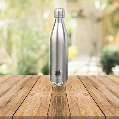 SKI Stainless Steel Water Bottle,Vacuum Insulated,Temperature Control,BPA Free,12 HR Hot,18 HR Cold, 304FOOD-GRADE Stainless Steel Inside The Bottle (500 ml) Silver