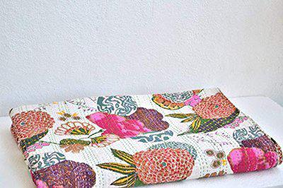 Fashion Hub Cotton Textile Work Creations Indian Quilt Handmade Hand Stitched Reversible Bedding Bedspread Blanket Throw Kantha Twin Size (Multicolor)