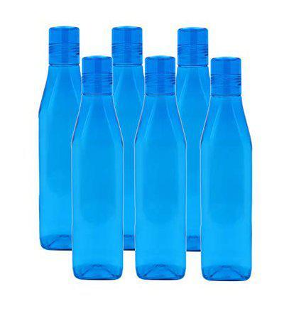 Pearlpet Milano Slim BPA Free Plastic 1000 ml Home Kitchen Fridge Water Bottle Colour Sky Blue Pack of 6