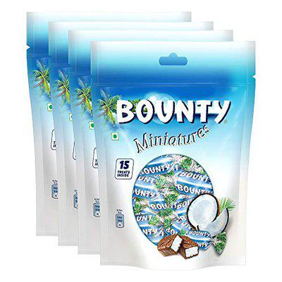 Snickers Bounty Miniatures Coconut Filled Chocolates - 150g (Pack of 4)
