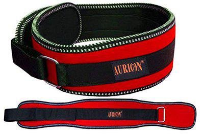 Aurion Body Squad Weight Lifting Belt Pro Quality Neoprene Back Support Belt With Speed Grip Strip Closure And Stainless Steel Hook and Loop Design - 6 Wide Soft Feel Padding (Red, LARGE)