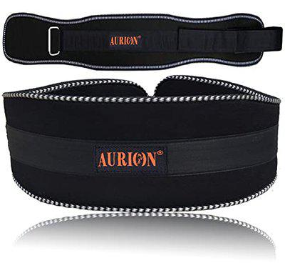 Aurion Body Squad Weight Lifting Belt Pro Quality Neoprene Back Support Belt With Speed Grip Strip Closure And Stainless Steel Hook and Loop Design - 6 Wide Soft Feel Padding (Black, XL)
