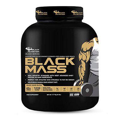 Black Nutrition Massive Muscle Mass & Weight Gainer, High Protein Mass Gainer, High Calories and Rich Proteins Boost Muscle Development, Athletic Performance, Serious Mass Gain Training, Post Workout Recovery, Enhance Lean Muscle Growth   Healthier Drink   Made in India [ 2.7Kg / 6 Lb, Milk Chocolate Flavour]