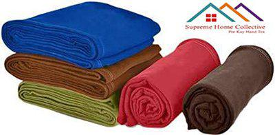 Supreme Home Collective Super Soft Single Bed Lightweight AC Fleece Plain Blanket Multi Colored- (Pack of 5)