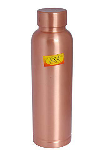 Shiv Shakti Arts Pure Copper Water Bottle Outside Lacquer Coated Shinee Design for Drinking Water - Gym, Aayurveda Health Benifit - (1 Pc = Vol - 1000 ML)