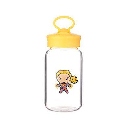 MINISO High Borosilicate Glass Water Bottle with Portable Ring for Children,Adult,MARVEL Series,450ml(Captain Marvel)