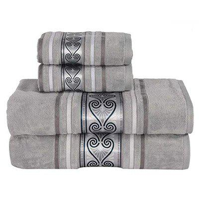 Rangoli Cotton Towel Set 2 Large Bath Towels for Men and Women and 2 Hand Towels, 450 GSM, (Set of 4, Style Regal Field, Grey Color with Printed Border)