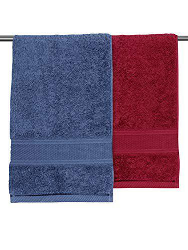 Urban Space 100% Cotton 2 Piece Bath Towel Set, Super Soft/Super Absorbent/Light Weight/Travel Friendly/Quick Dry Towels 360 GSM (Blue and Maroon)