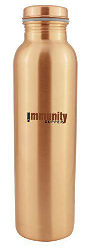 Immunity Copper Lacquer Copper Water Bottle, Design Copper Water Bottle for Travelling and Office (1000 ml) Set of 2 Copper Bottle