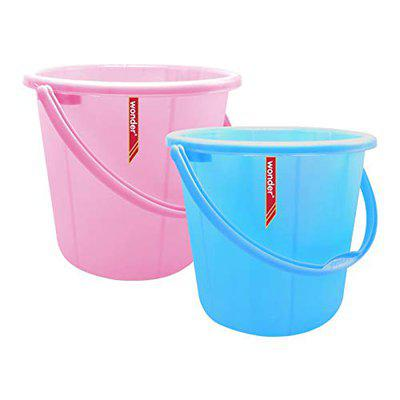 Wonder Plastic Bucket Set, Frosty for Home/Kitchen/Office, Set of 2 Pc, 22 Ltrs, Pink & Blue Color, Made in India